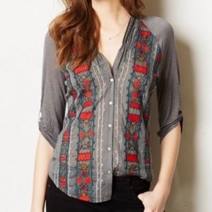 Anthropologie Tiny embroidered button up